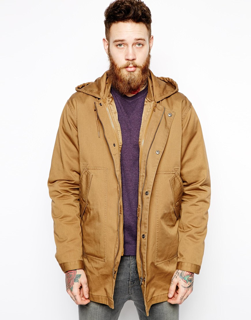 Asos 2 in 1 Fishtail Parka in Brown for Men | Lyst