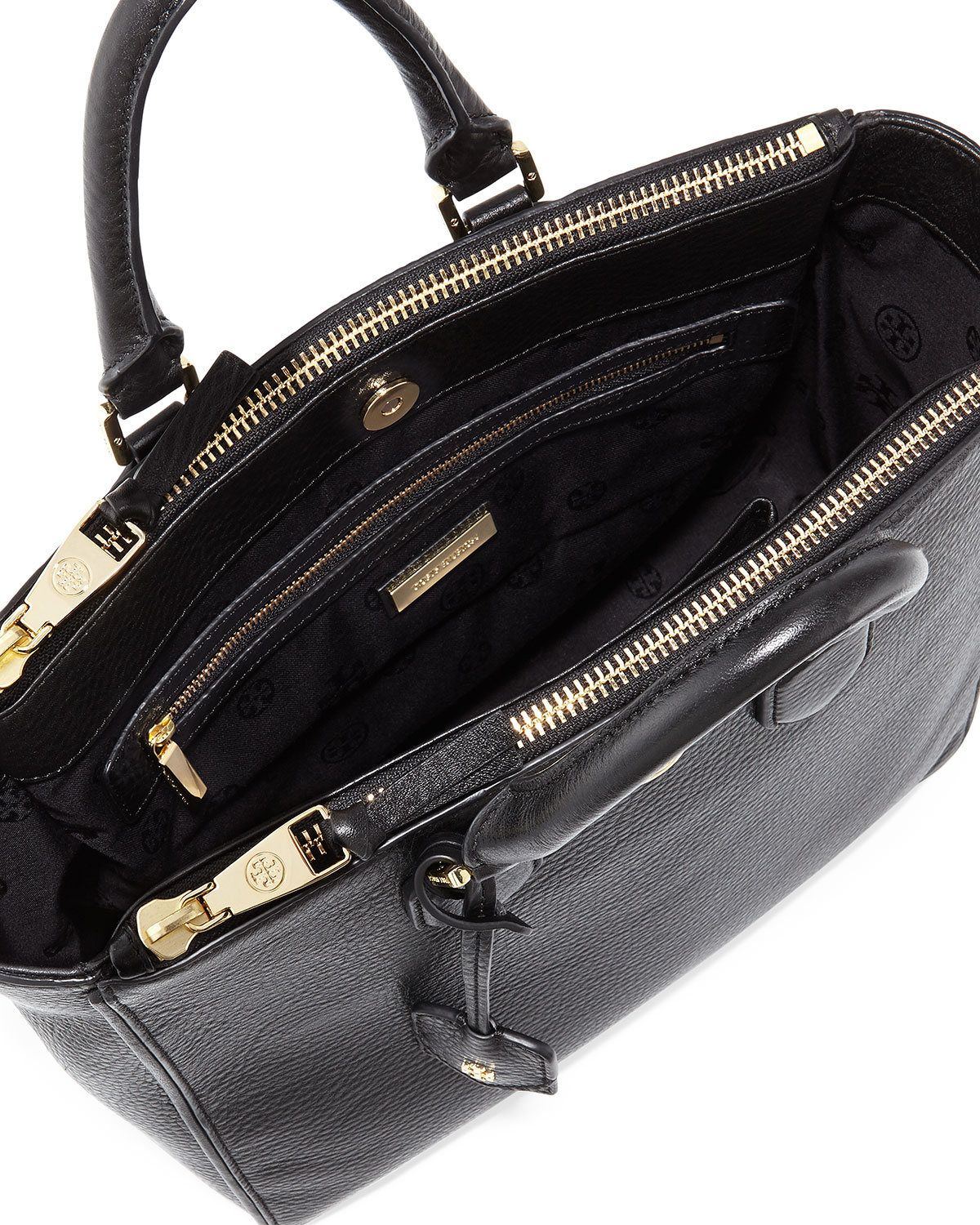 Snap Lyst Tory Burch Robinson Mini Square Tote In Black Photos On Ronbinson Pebbled