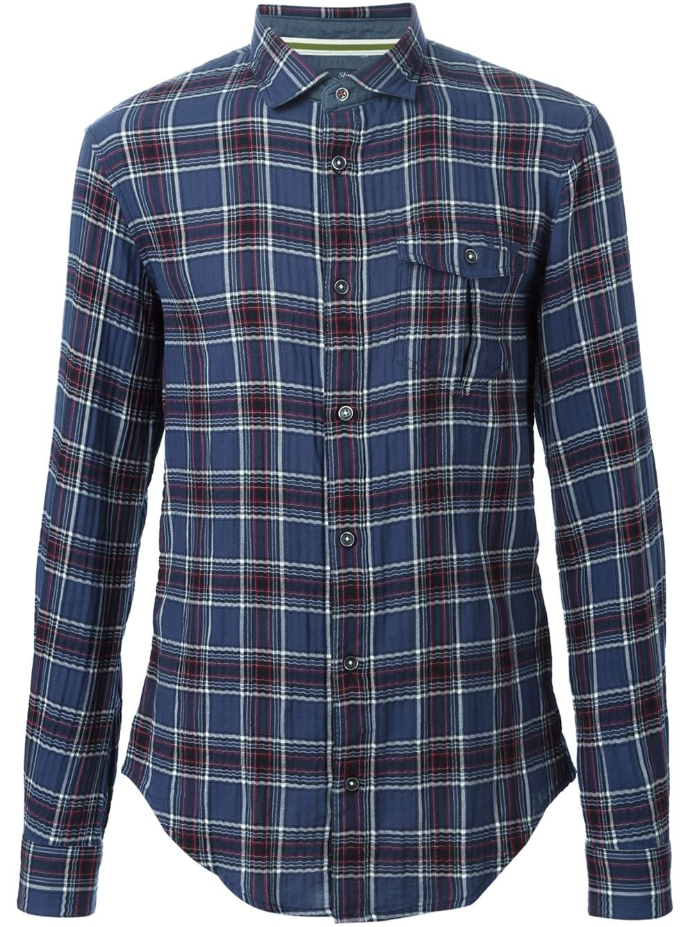 Lyst Armani Jeans Checked Shirt In Flannel In Blue For Men