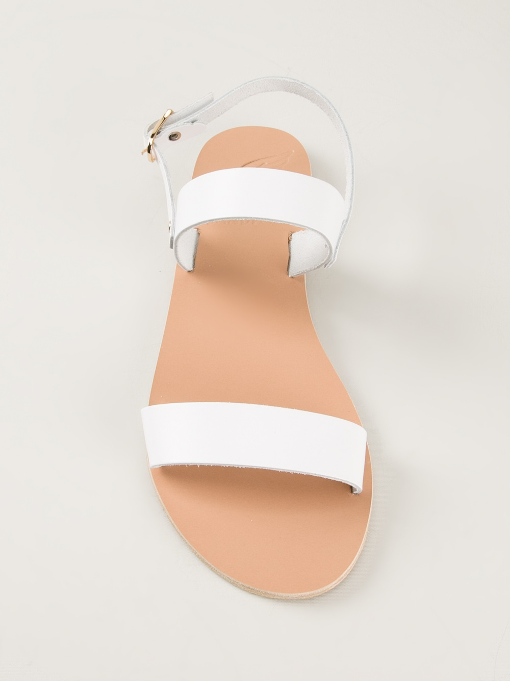 White Flat Shoes With Strap