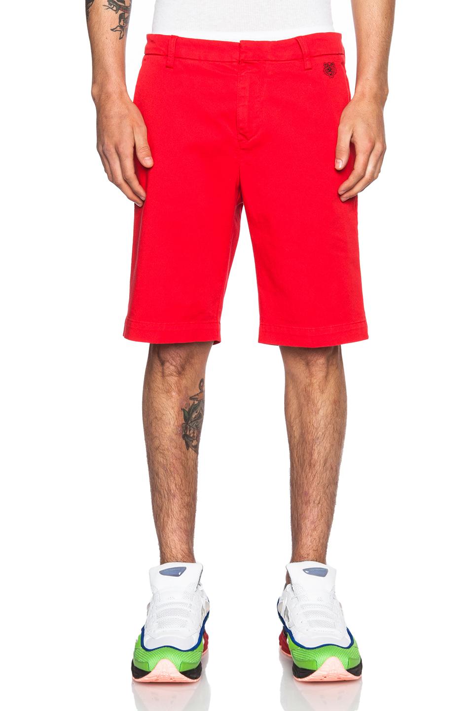 Kenzo Men'S Garment Dyed Cotton-Blend Gabardine Short in Red | Lyst