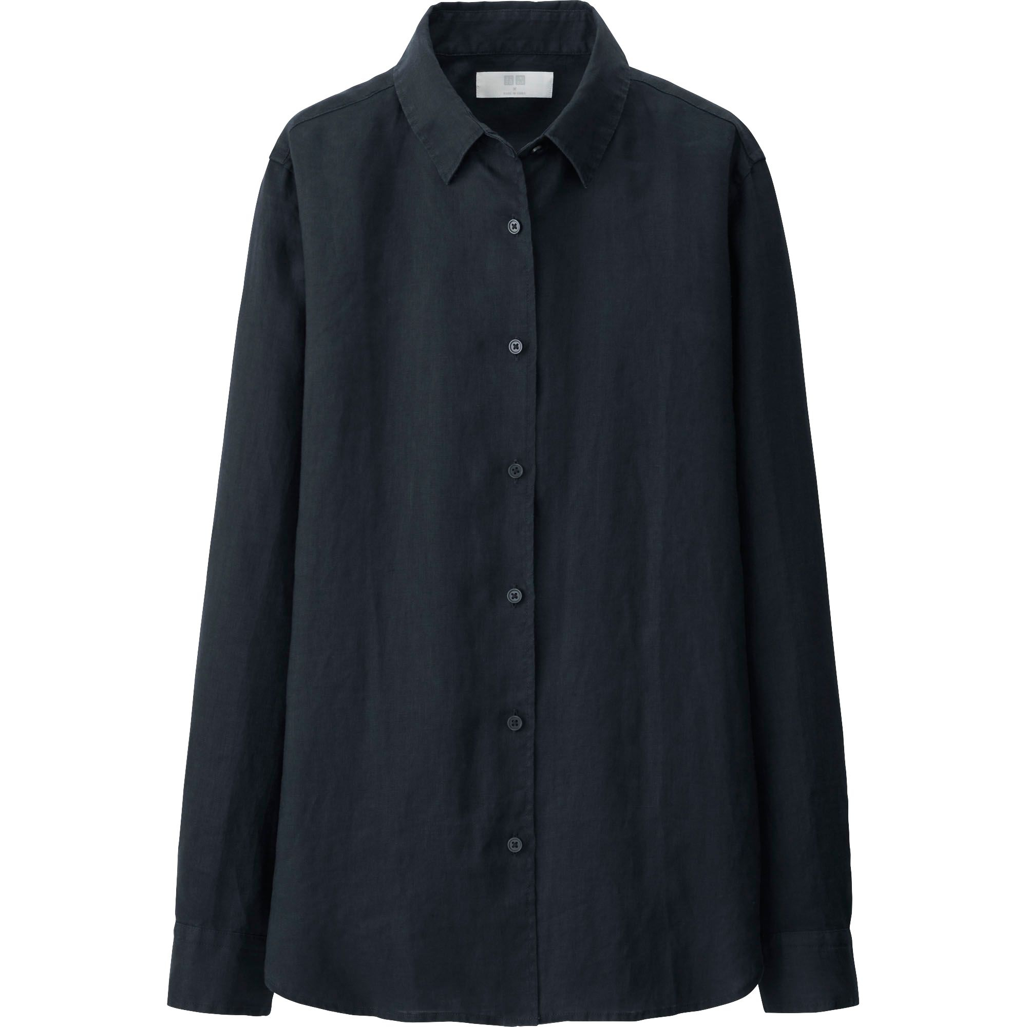 uniqlo women premium linen long sleeve shirt in black