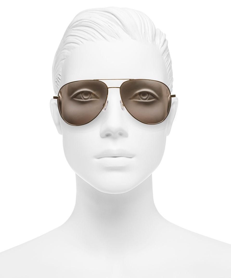 2c0925ee91da6 Saint Laurent Rose-Tone Classic 11 Aviator Sunglasses in Brown for ...