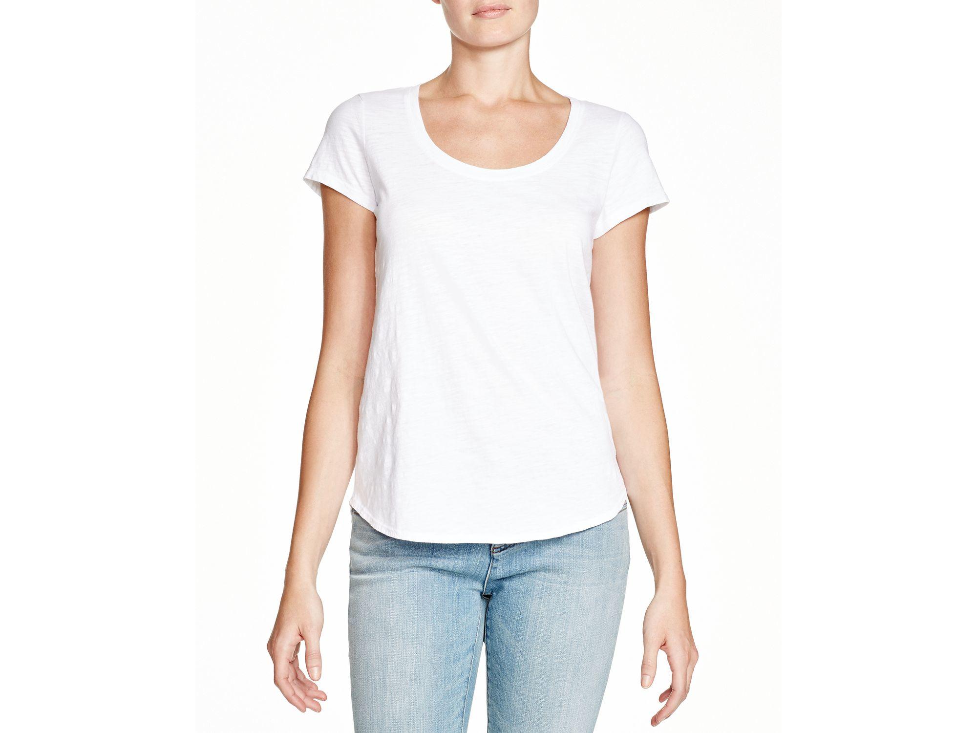 Eileen fisher organic cotton scoop neck tee in white lyst for Eileen fisher organic cotton t shirt