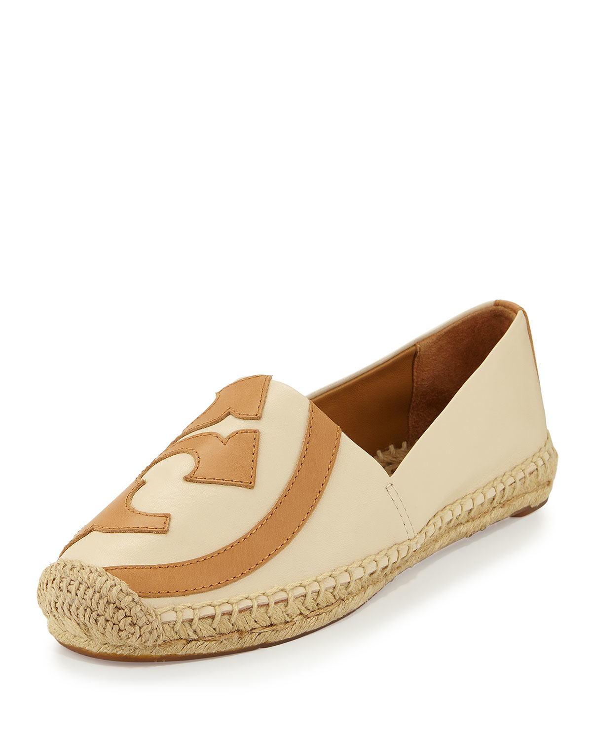 1d2b3211475 ... closeout lyst tory burch lonnie logo espadrille flat in natural aaa89  a925c