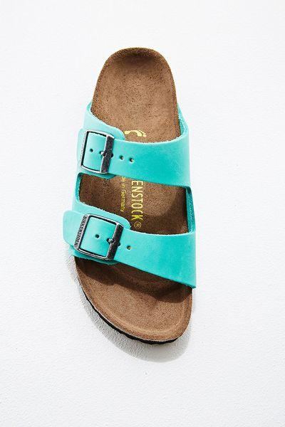 Birkenstock Arizona Nubuck Leather Sandals In Mint In Blue