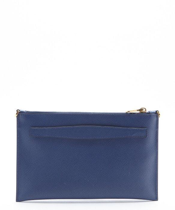 blue prada clutch