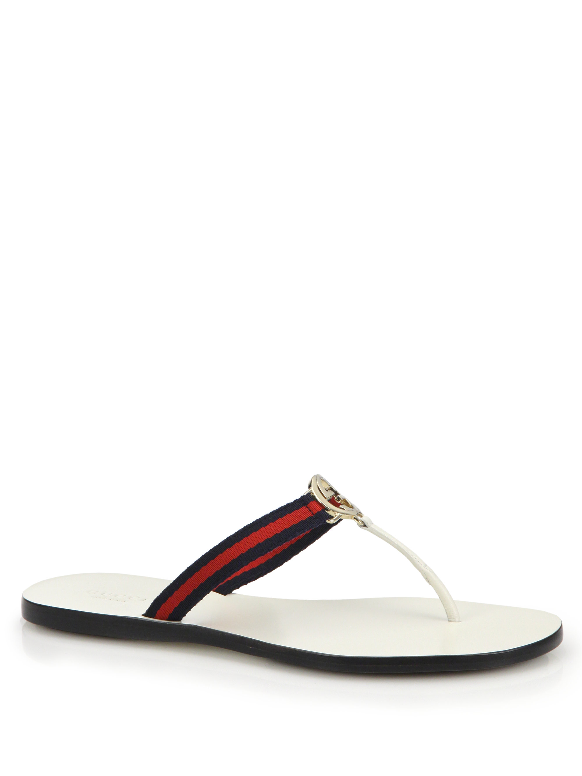 435e64cd11e0 Lyst - Gucci New Gg Canvas   Leather Signature Thong Sandals in Blue