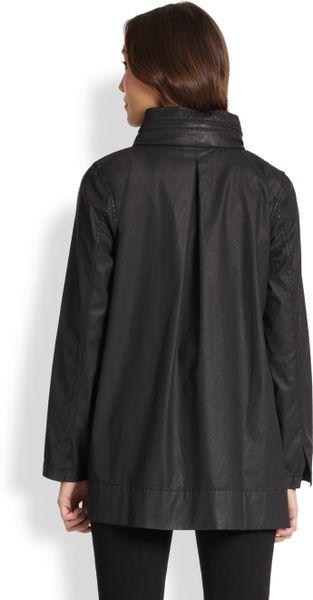 Eileen Fisher Waxed Twill Hooded A Line Jacket In Black Lyst