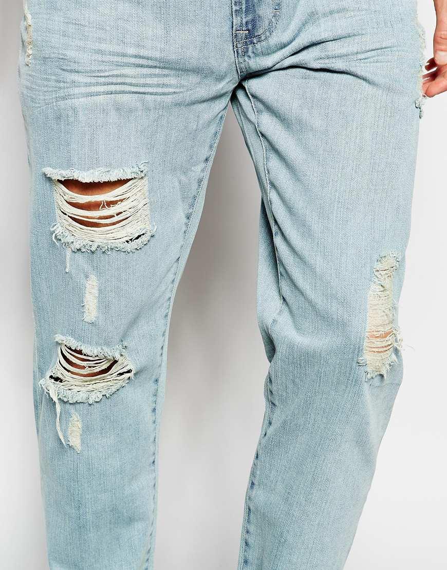 352ba9cd375 Lyst - WÅVEN Jeans Erik Regular Tapered Fit Light Bleach Rip Repair ...
