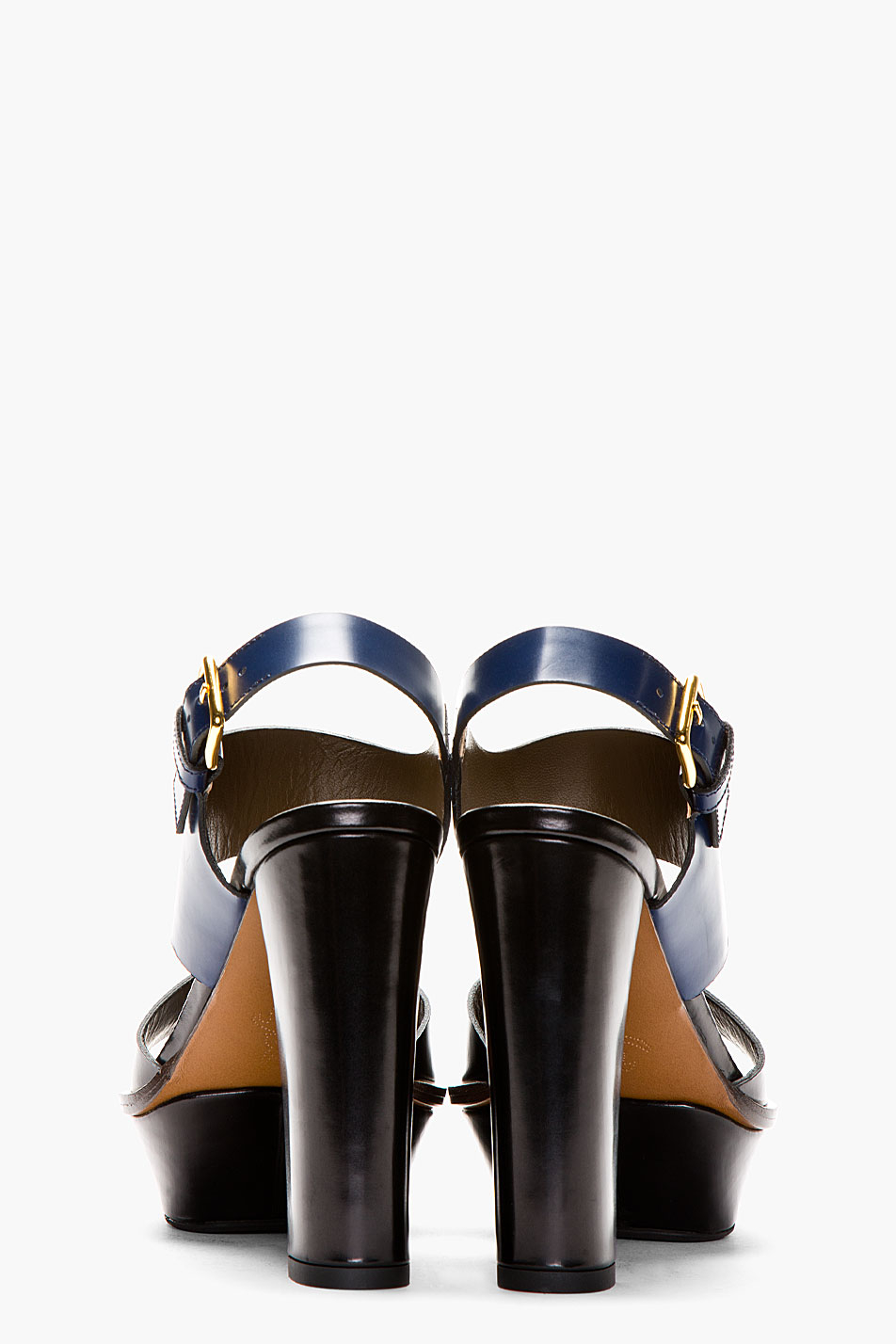 Marni Navy And Black Leather Platform Heels In Blue Lyst