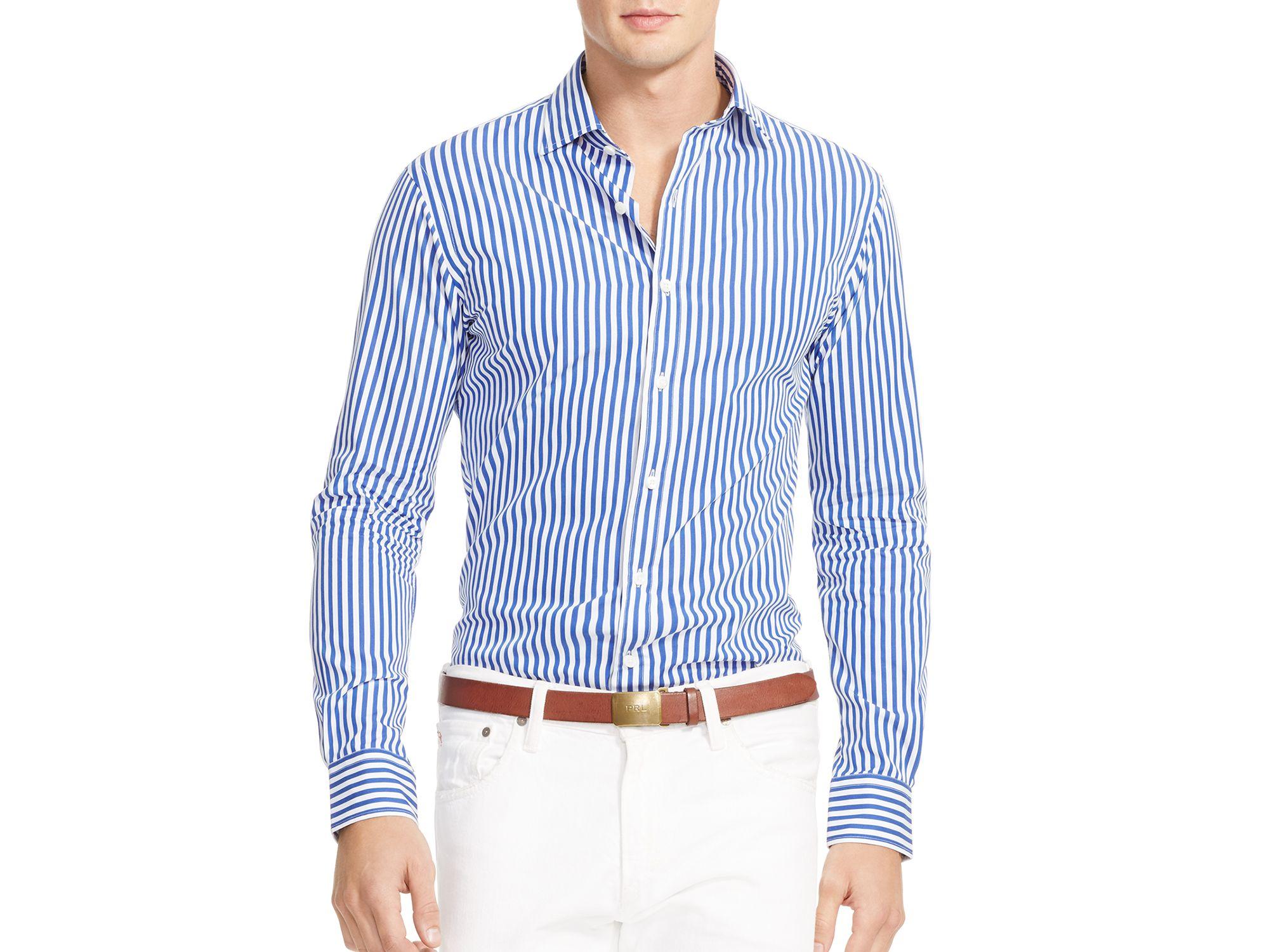 Lyst pink pony bengal stripe slim fit button down shirt for Slim fit white button down shirt