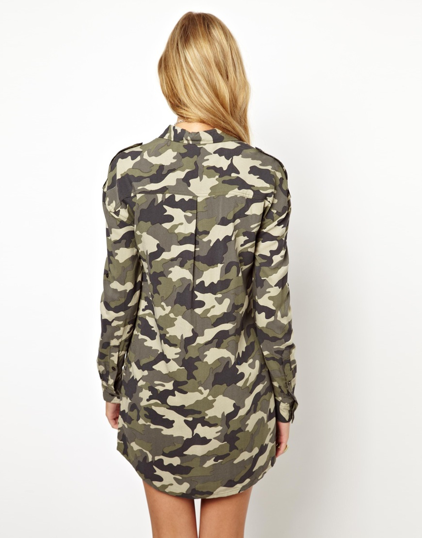 Pepe jeans camo military shirt dress in green khaki lyst for Green camo shirt outfit