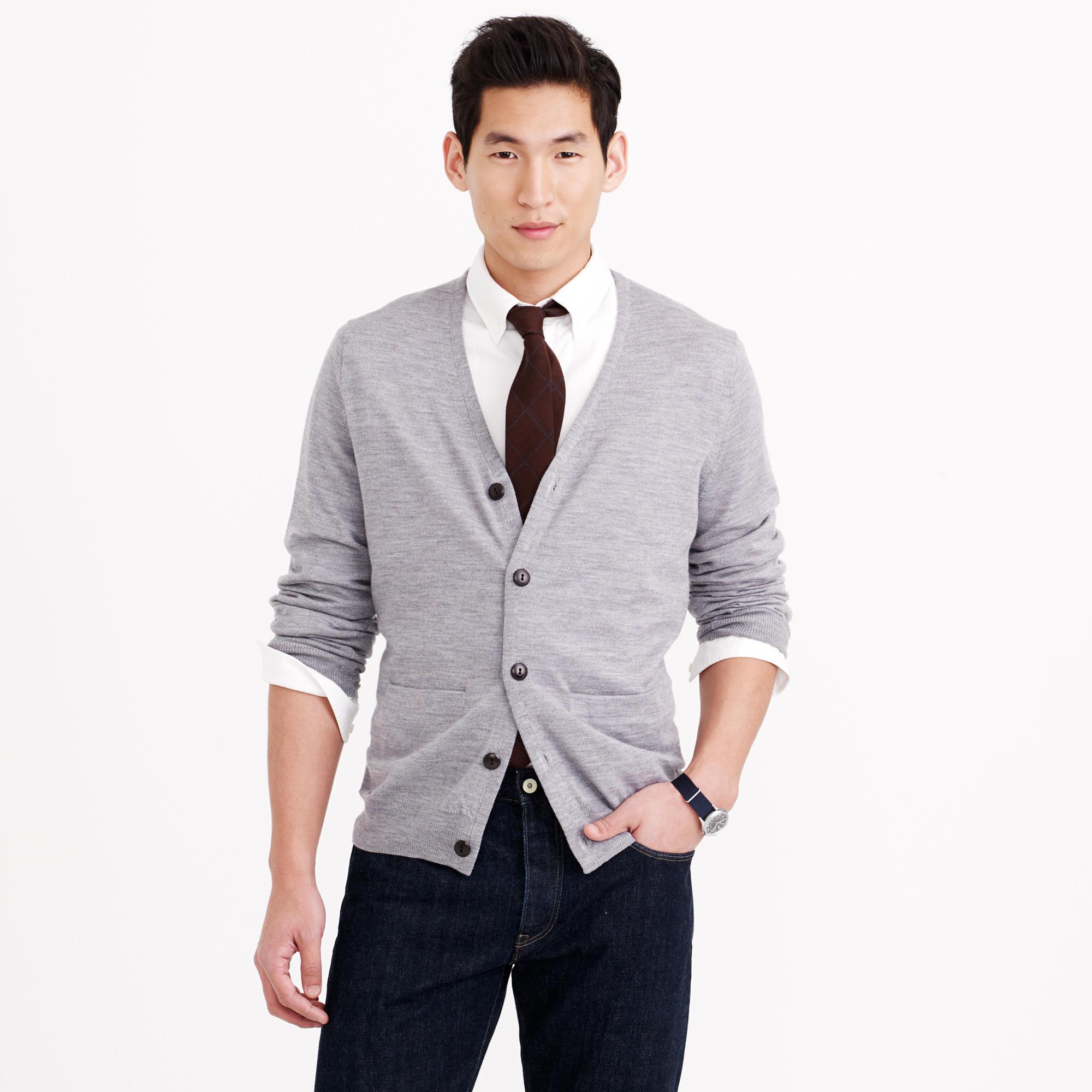 J.crew Merino Wool Cardigan Sweater in Gray for Men | Lyst