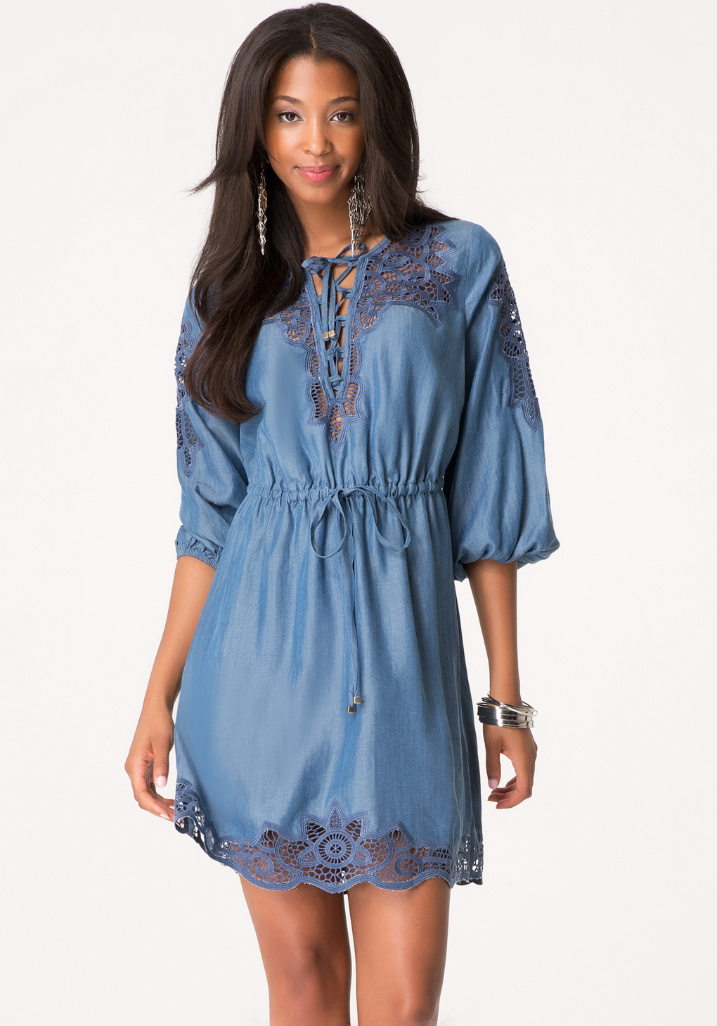 5536a3e7dbf6 Lyst - Bebe Embroidered Chambray Dress in Blue