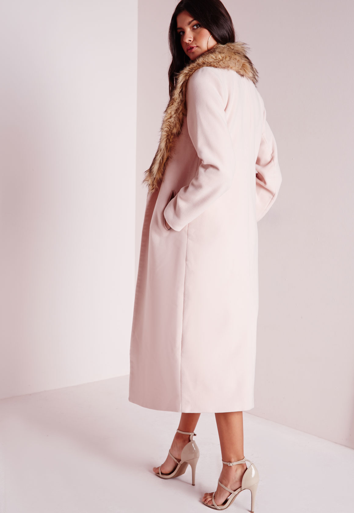 Missguided Longline Wool Coat With Faux Fur Collar Blush ...