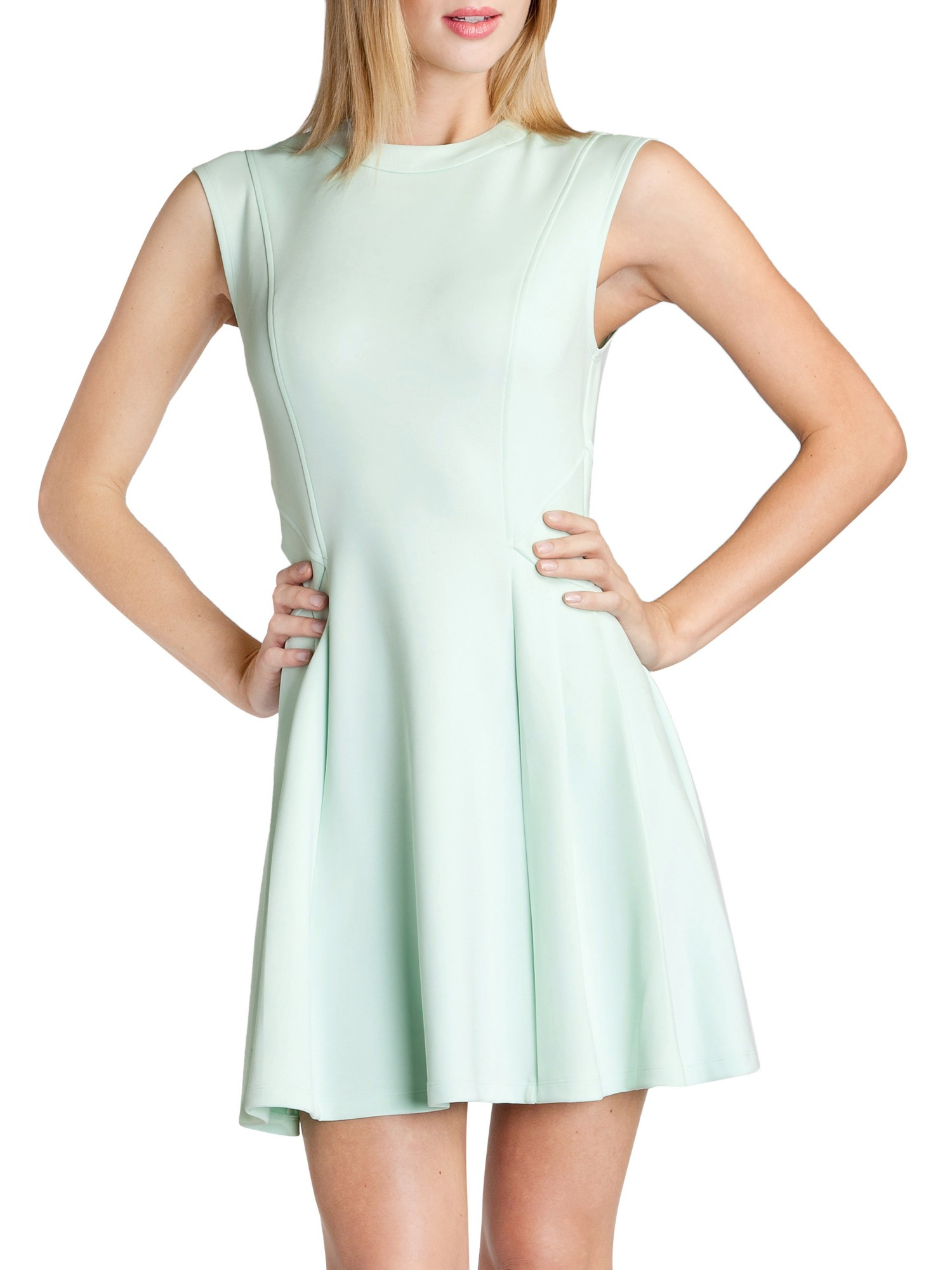 4080ef219d9e07 Ted Baker Nistee Side Pleat Skater Dress in Green - Lyst