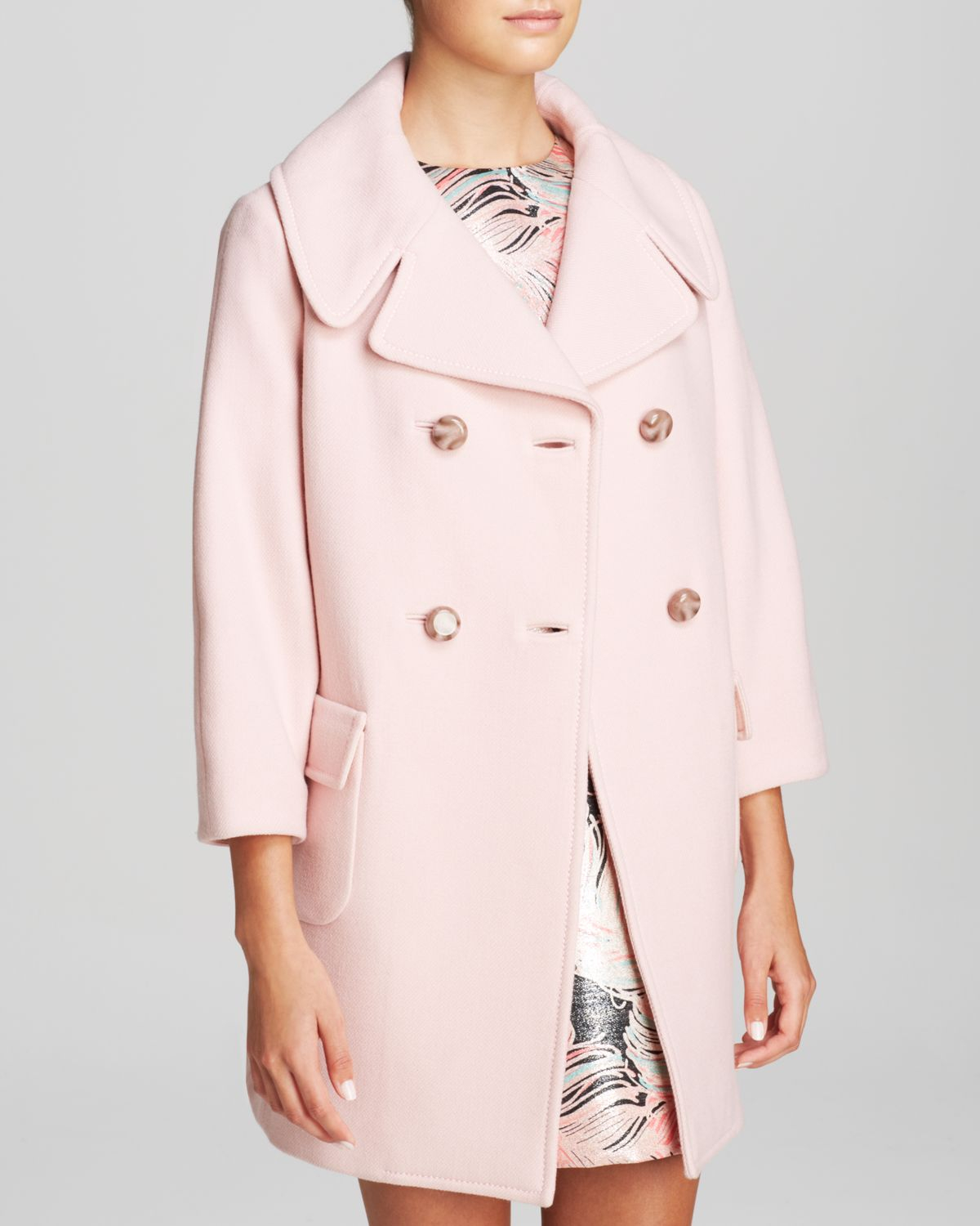Kate spade new york Jacques Double Breasted Coat in Pink | Lyst