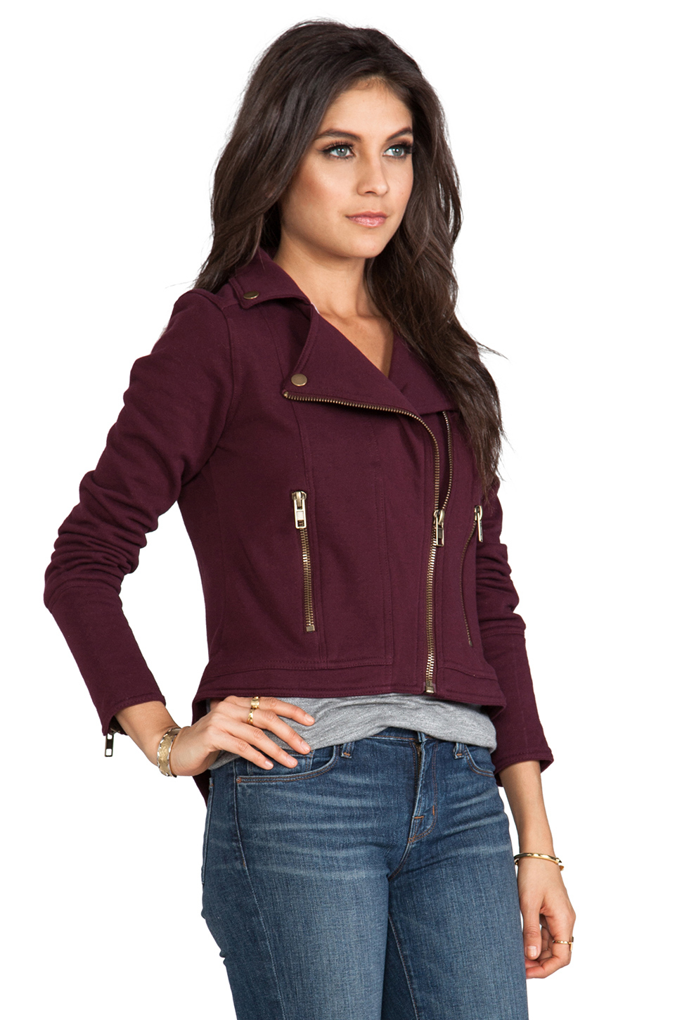 Lyst Chaser Fleece Moto Jacket In Burgundy In Red