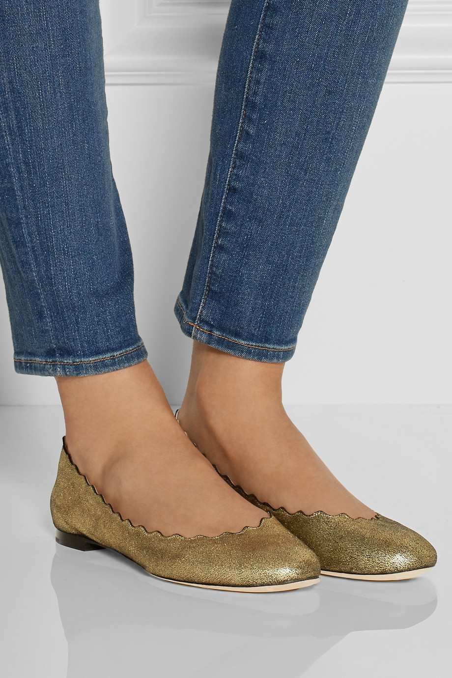 Chloé Lauren Scalloped Metallic Leather Flats qE5LluB