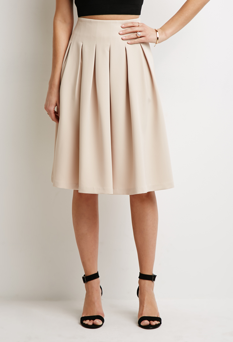 forever 21 box pleat a line skirt in lyst