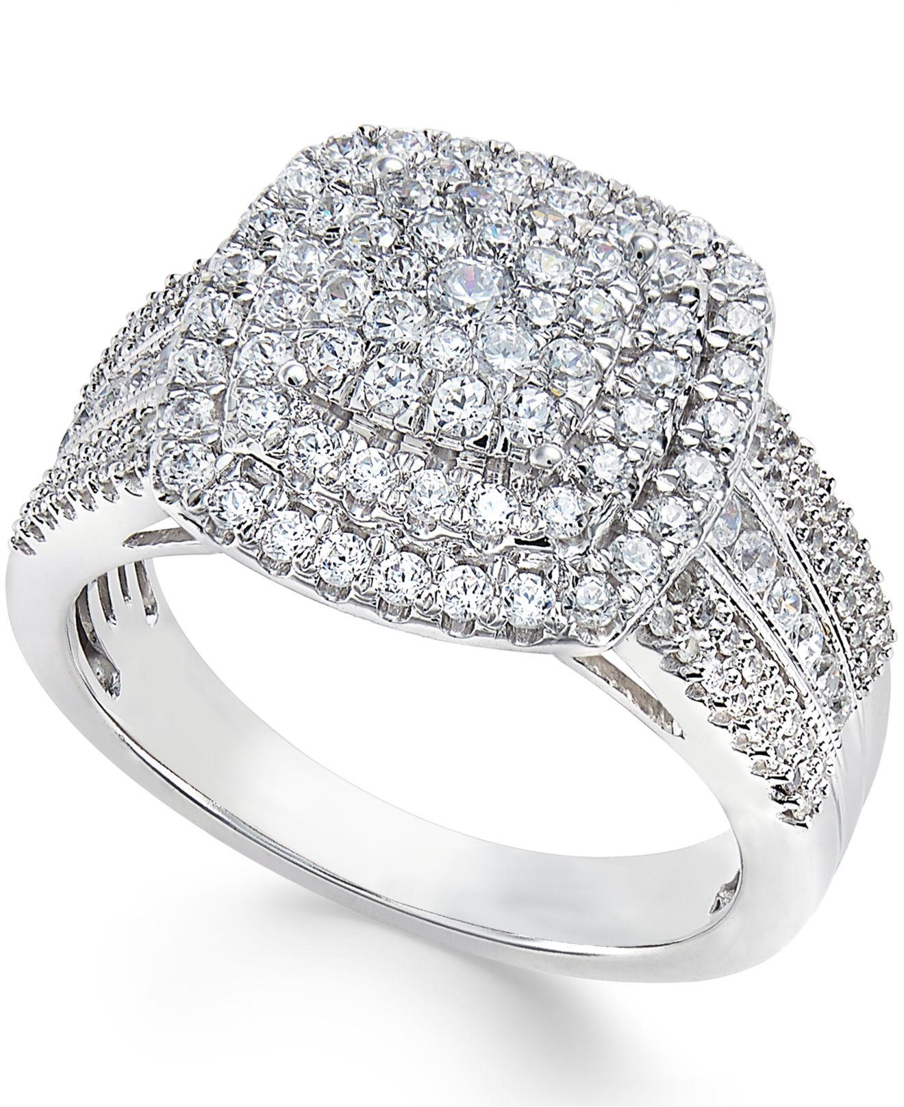 Lyst Macy S Diamond Cluster Ring 1 Ct T W In 10k