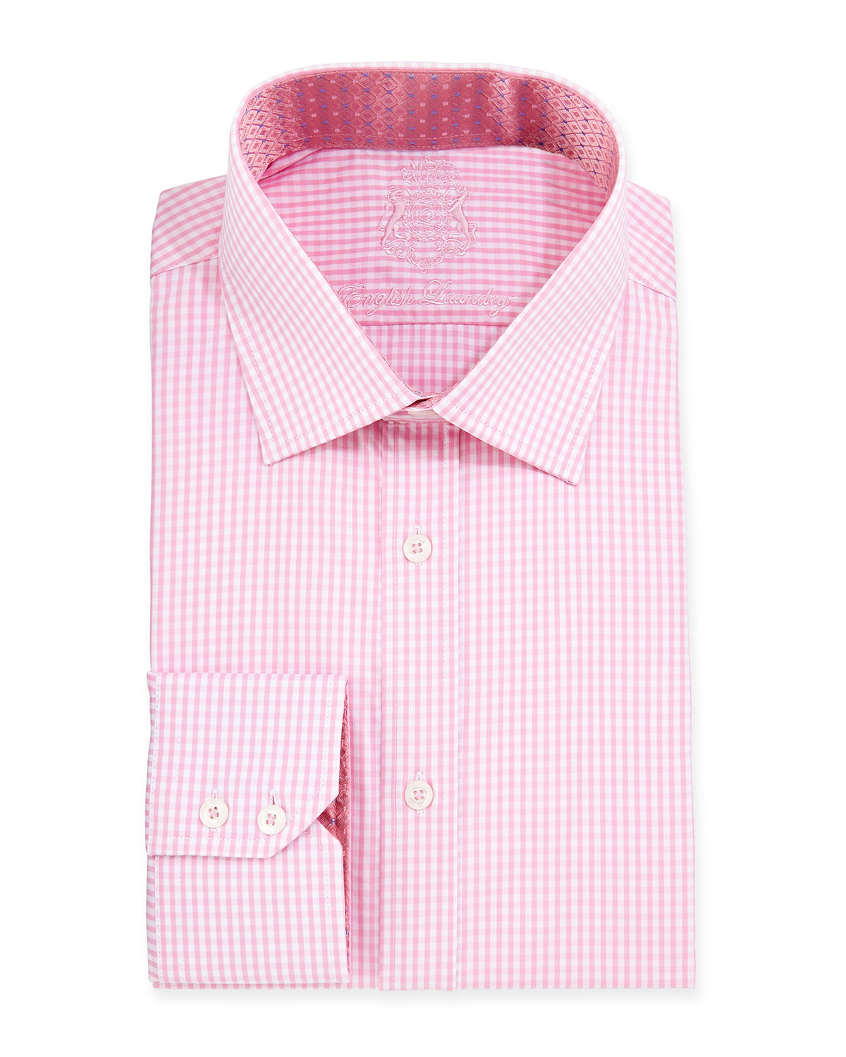 Lyst english laundry mini gingham check woven dress for Pink checkered dress shirt