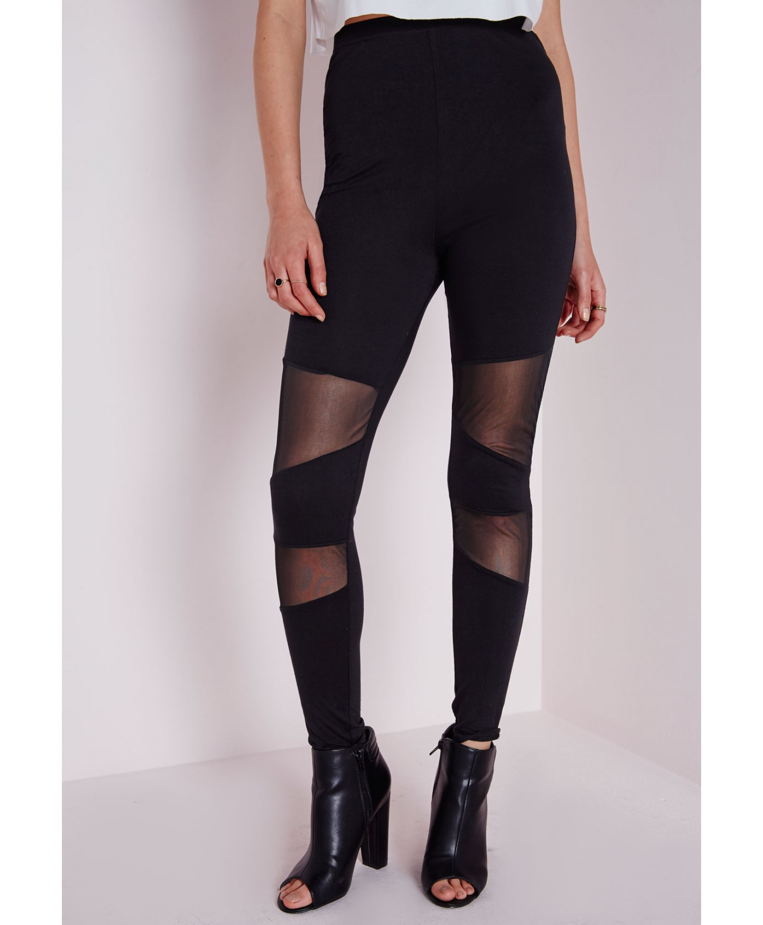 Missguided High Waist Mesh Panel Leggings Black in Black | Lyst