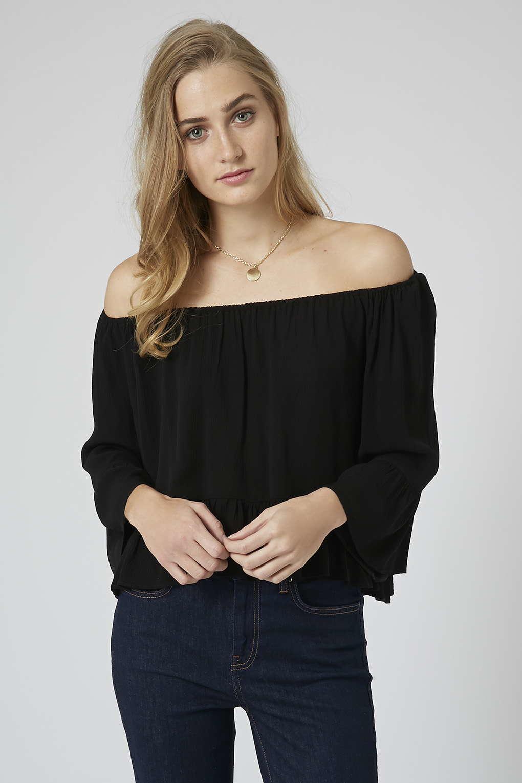 f219b6862d090 Lyst - TOPSHOP Crinkle Off Shoulder Bardot Top in Black