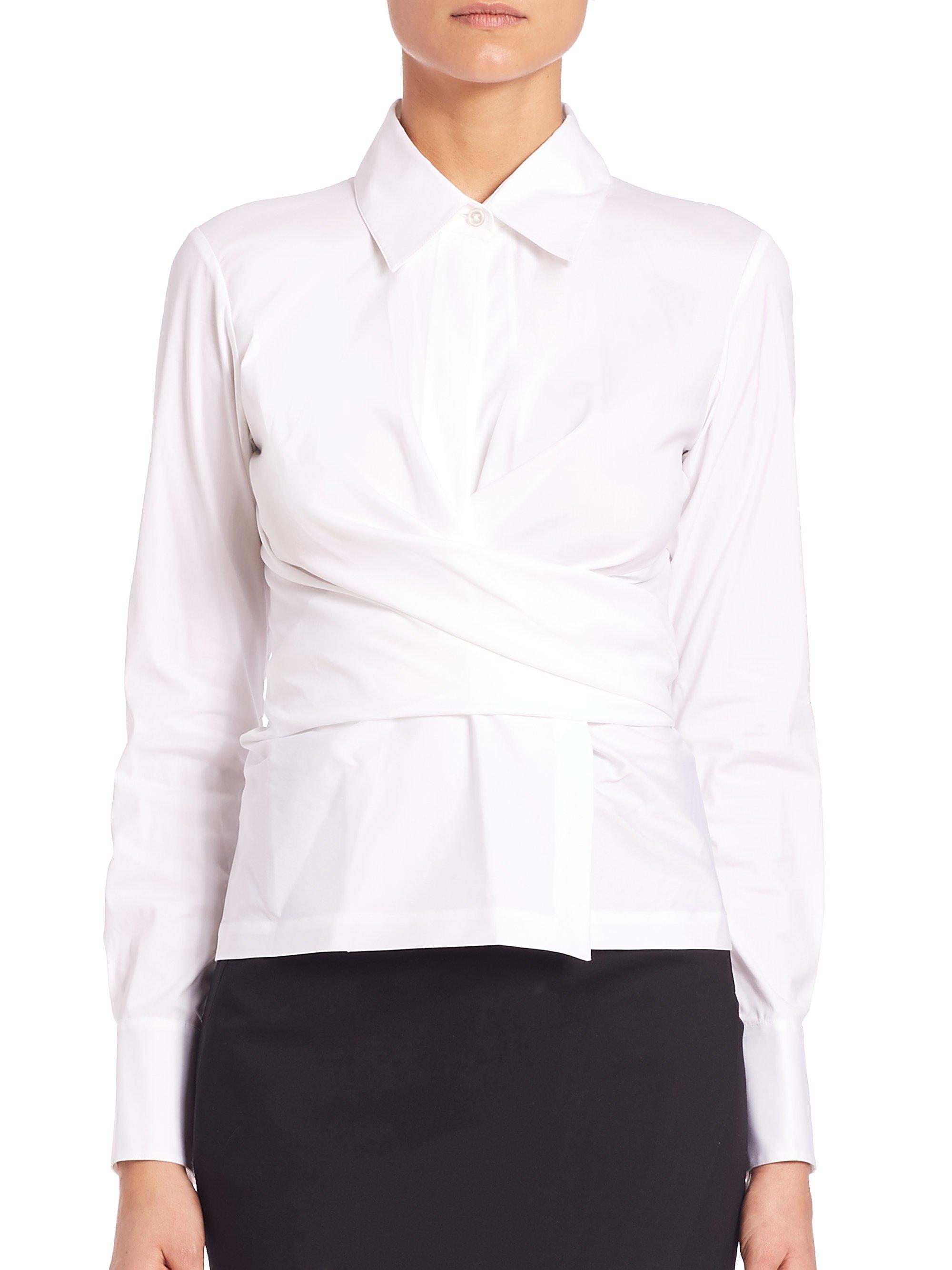 961981d843c37 Lyst - Donna Karan Stretch-cotton Wrap Shirt in White