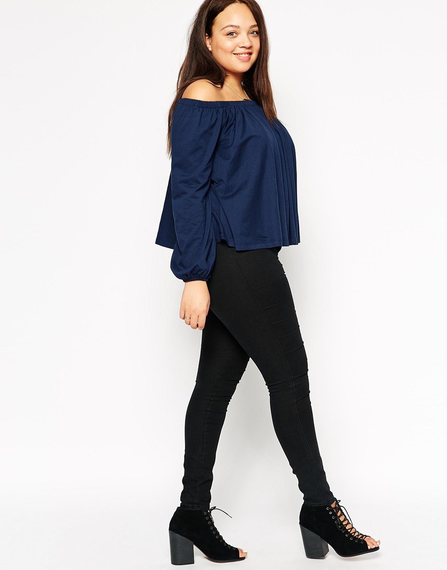 Asos Off Shoulder Gypsy Top in Blue | Lyst