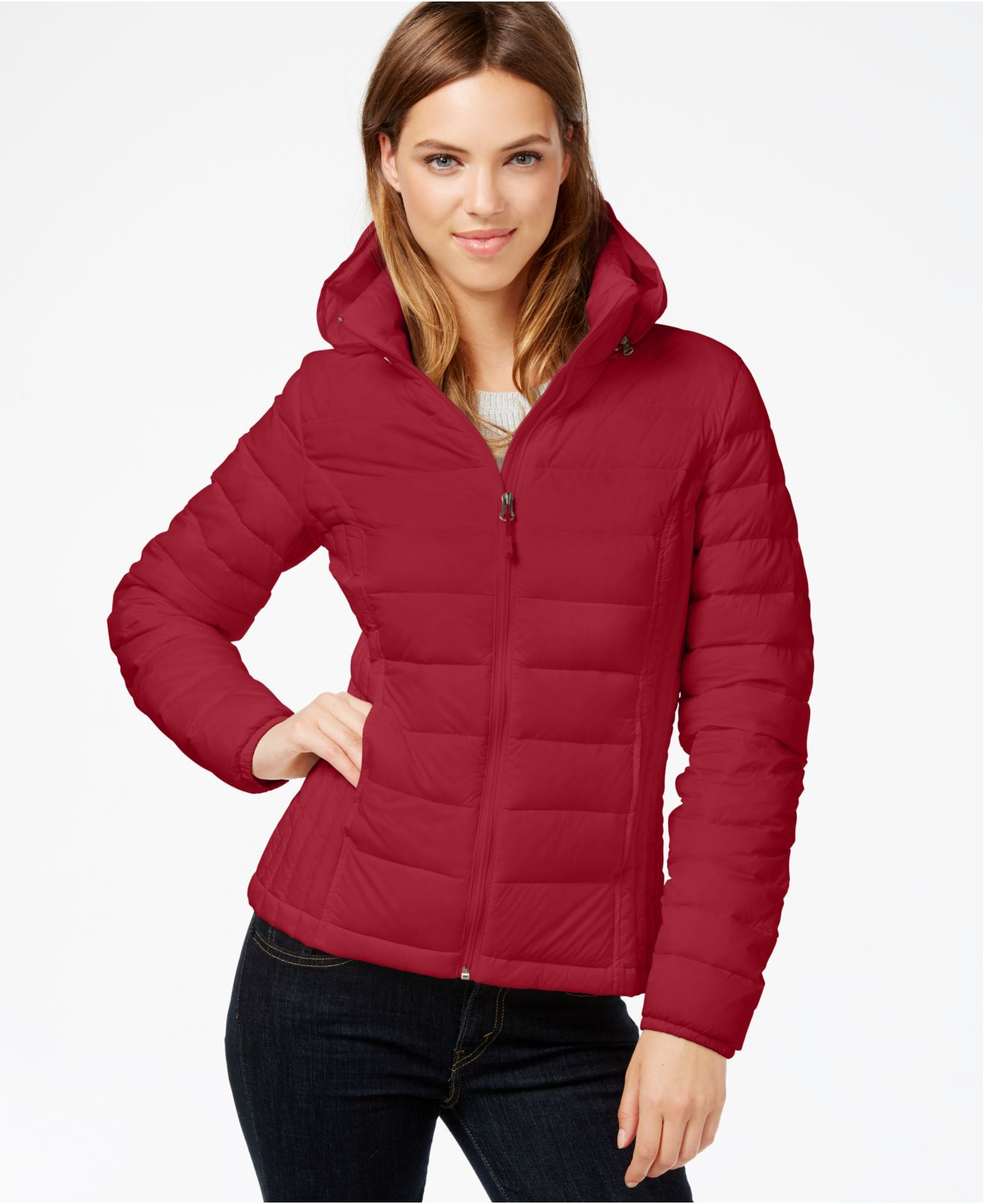 Lyst 32 Degrees Hooded Packable Down Puffer Jacket In Red