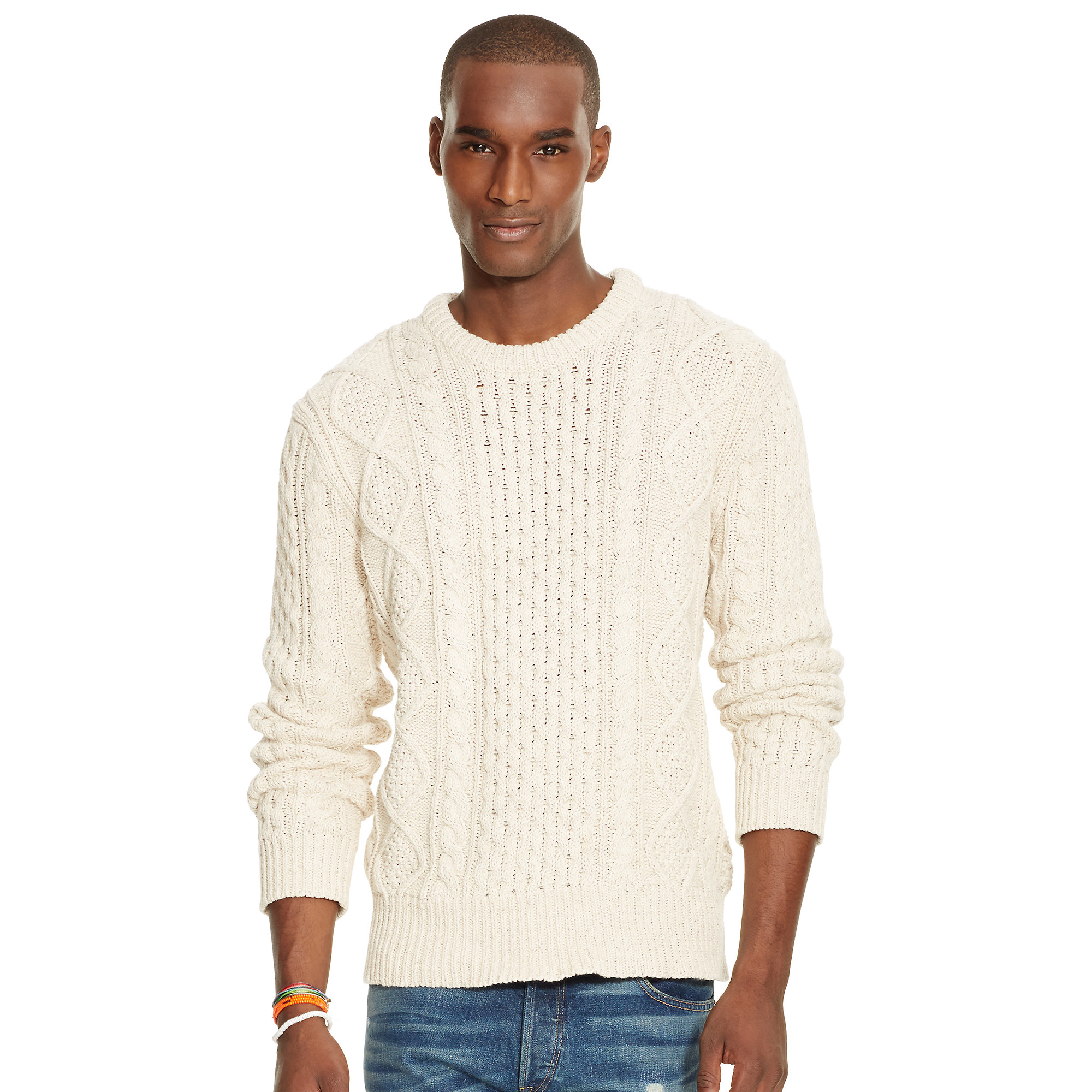 Polo ralph lauren Aran-knit Cotton Sweater in White for Men | Lyst