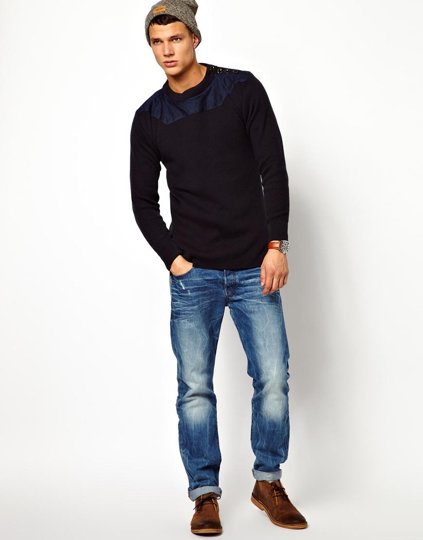 lyst g star raw g star crew knit jumper jove tonal shoulder in blue for men. Black Bedroom Furniture Sets. Home Design Ideas