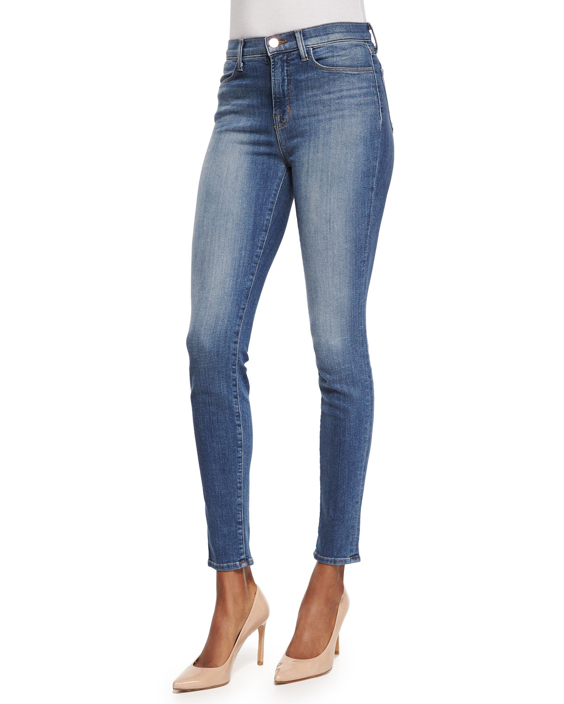 j brand maria high rise skinny jeans in blue denim lyst. Black Bedroom Furniture Sets. Home Design Ideas