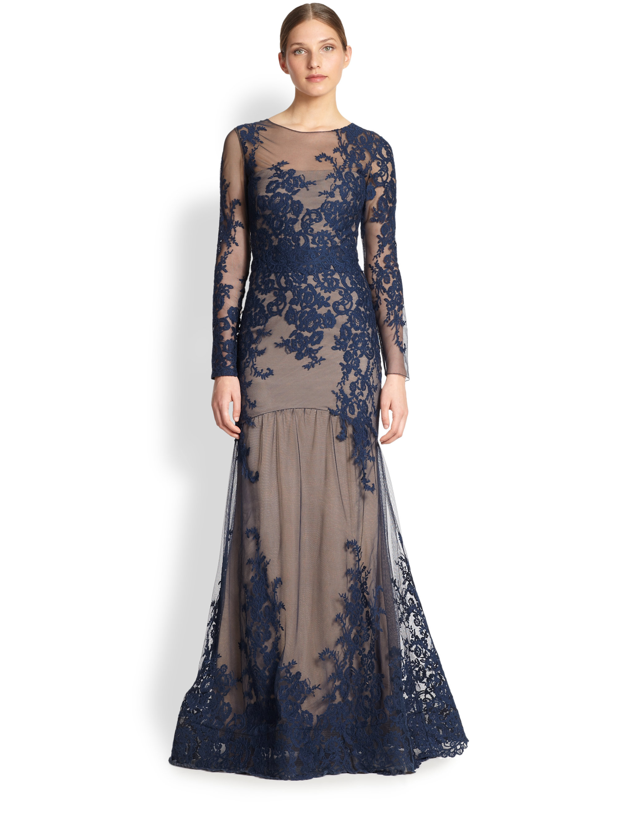 Notte by marchesa Floral & Lace Mermaid Gown in Blue