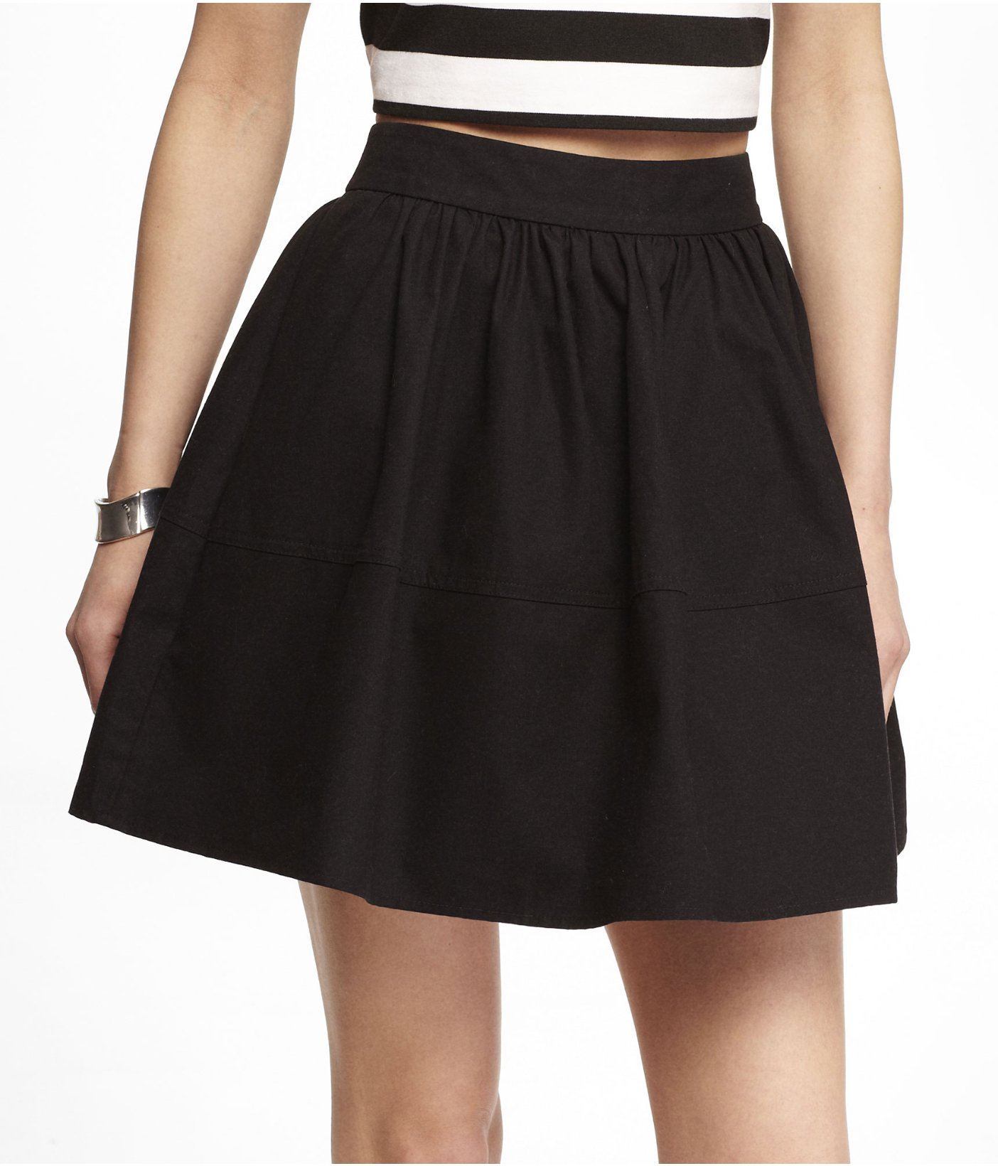 Lyst - Express High Waist Cotton Full Skirt in Black