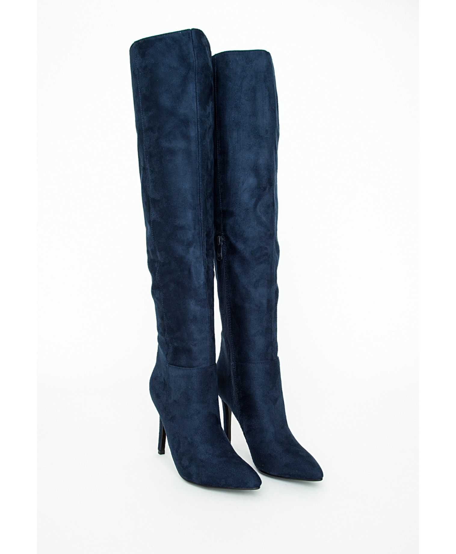 missguided knee high stiletto heeled boots navy in blue lyst