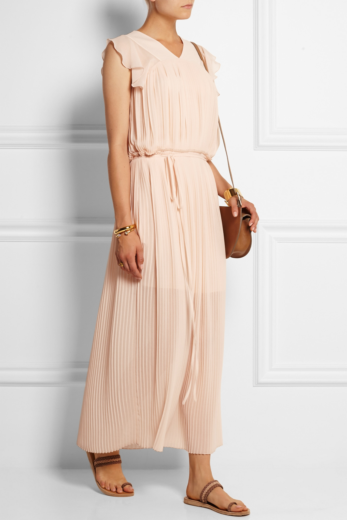 889866645a See By Chloé Pleated Georgette Maxi Dress in Pink - Lyst