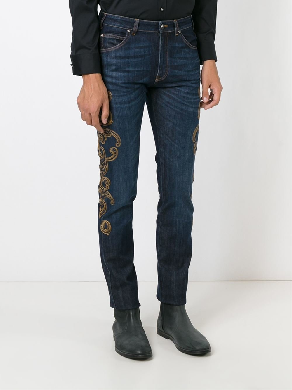 versace embroidered jeans in blue for men lyst. Black Bedroom Furniture Sets. Home Design Ideas