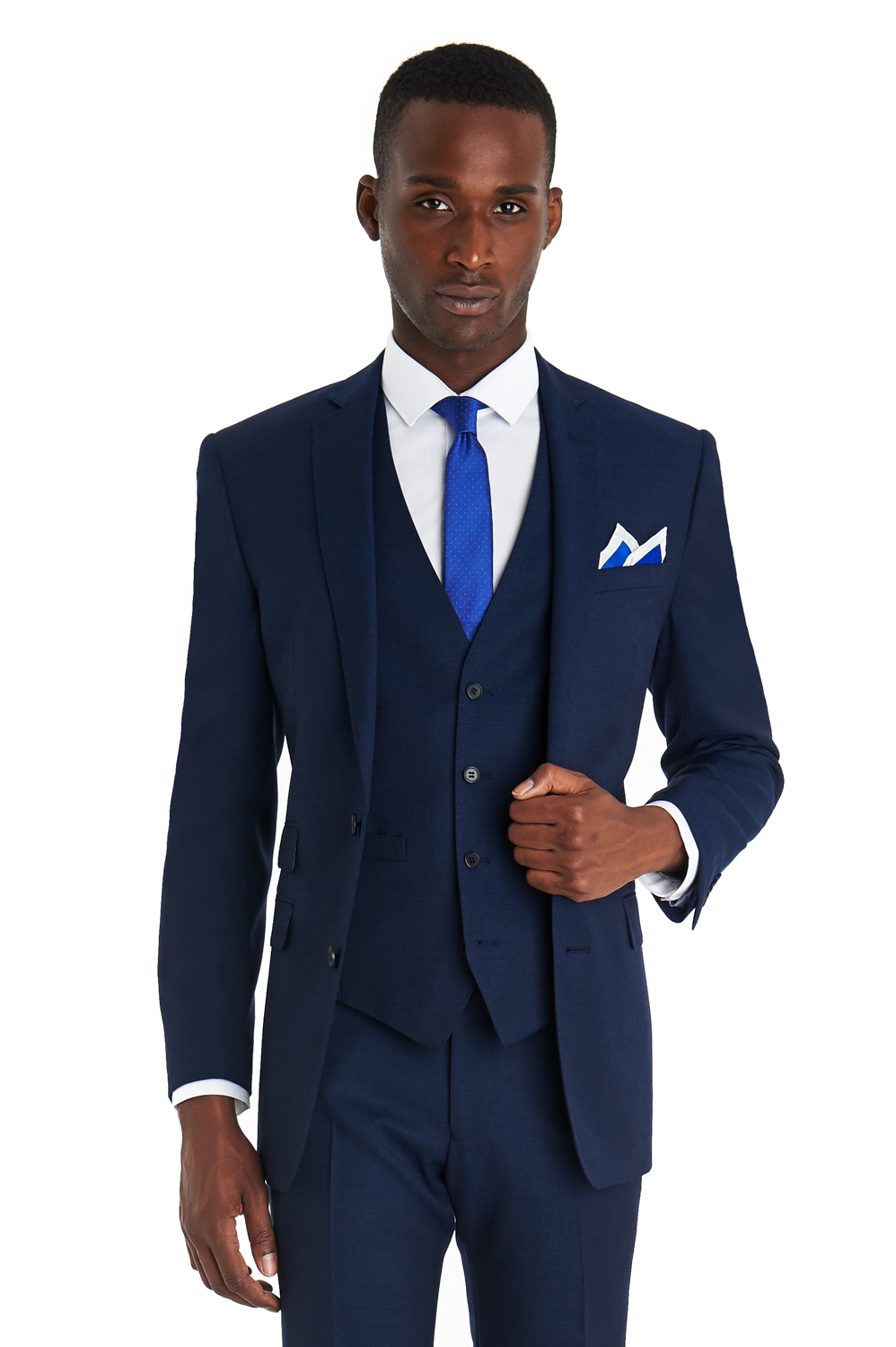 French connection Slim Fit Bright Blue Textured 3 Piece Suit in ...