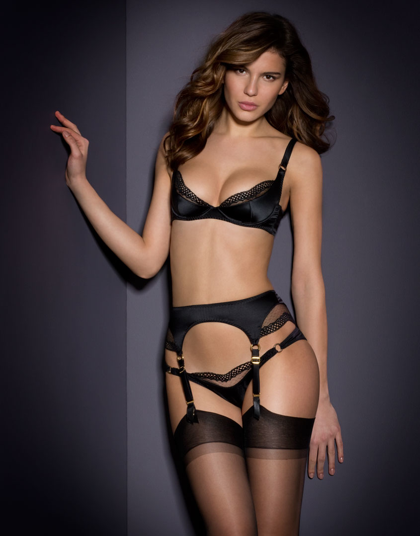 agent provocateur karen suspender black in black lyst. Black Bedroom Furniture Sets. Home Design Ideas