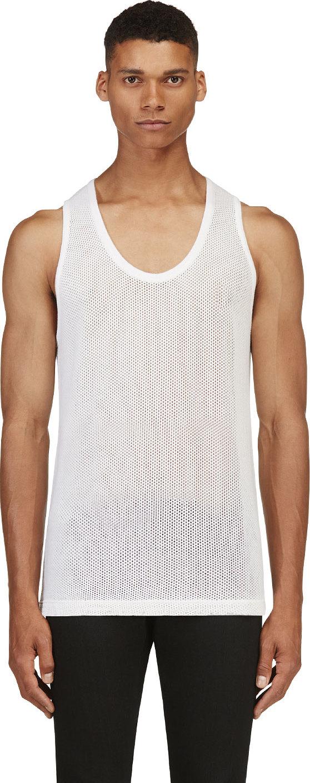 1cf3d4ba06bd9c Lyst - Burberry Prorsum White Cashmere Mesh Tank Top in White for Men