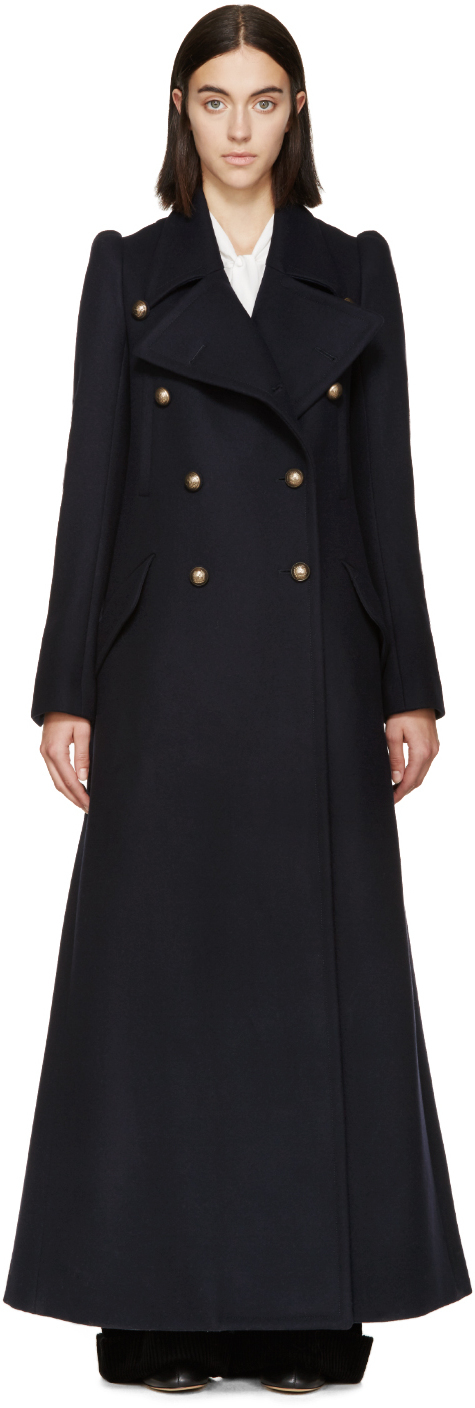 Chloé Navy Wool Double_breasted Long Coat in Blue | Lyst