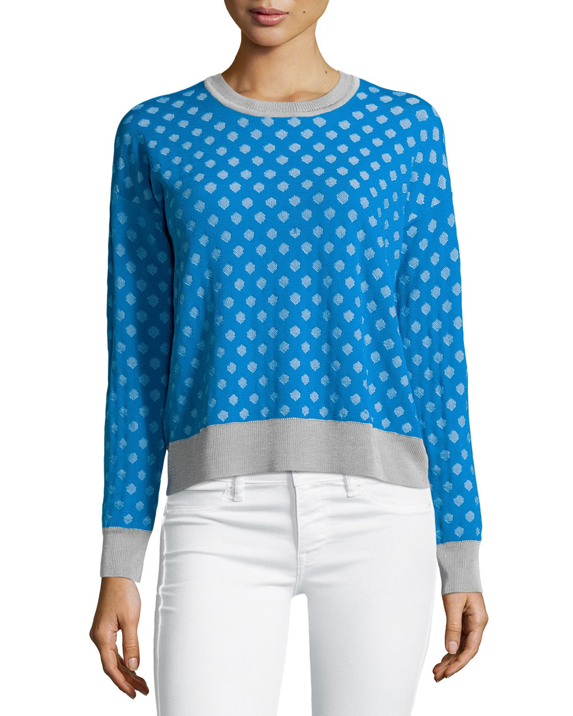 Knit Pattern Hexagon Sweater : Catherine malandrino Julie Hexagon-pattern Sweater in Blue ...
