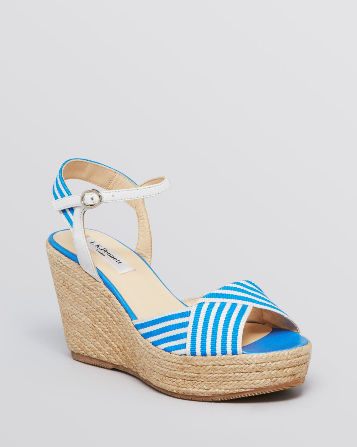 L.K. Bennett Striped Wedge Sandals cheap price fake sale with credit card sale limited edition h9Gtt1it