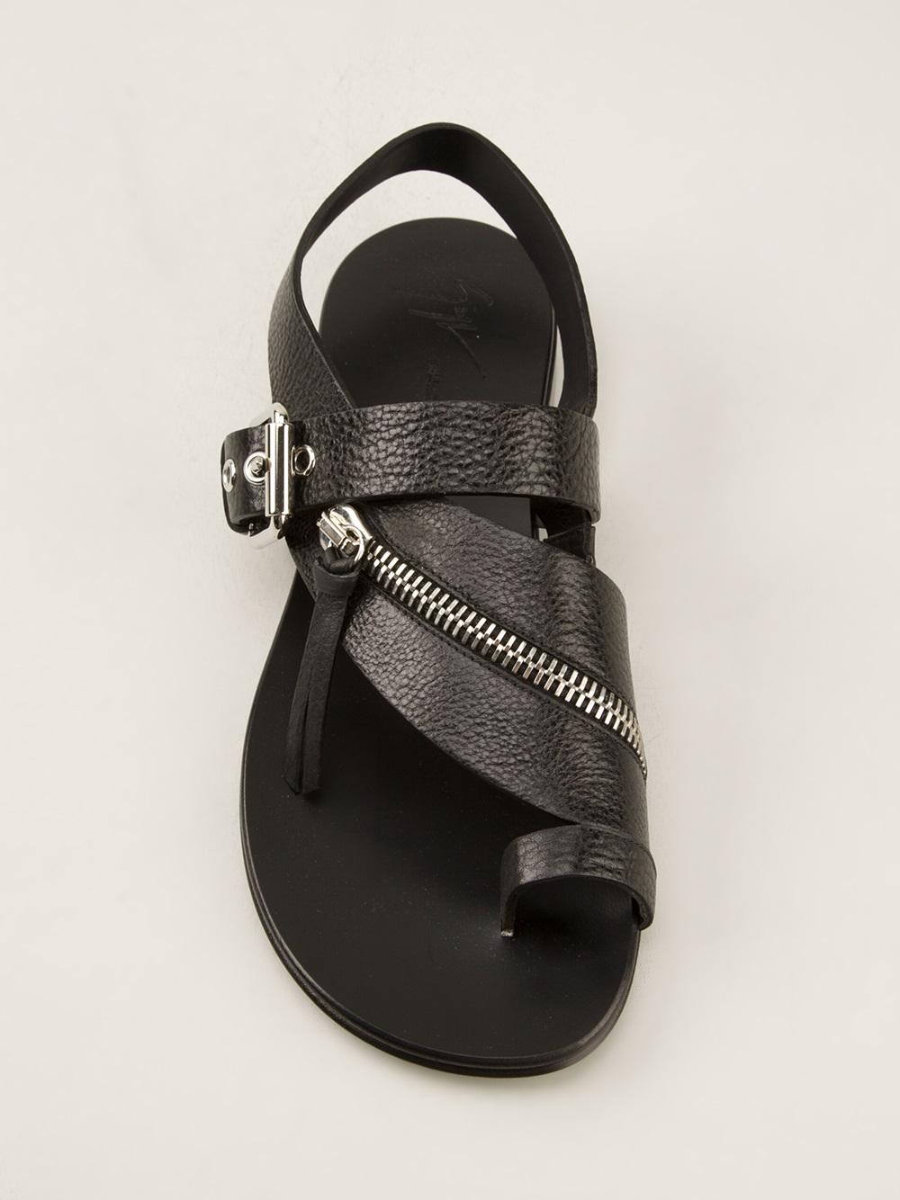 c70316946538e Giuseppe Zanotti Zipped Flat Sandals in Black for Men - Lyst