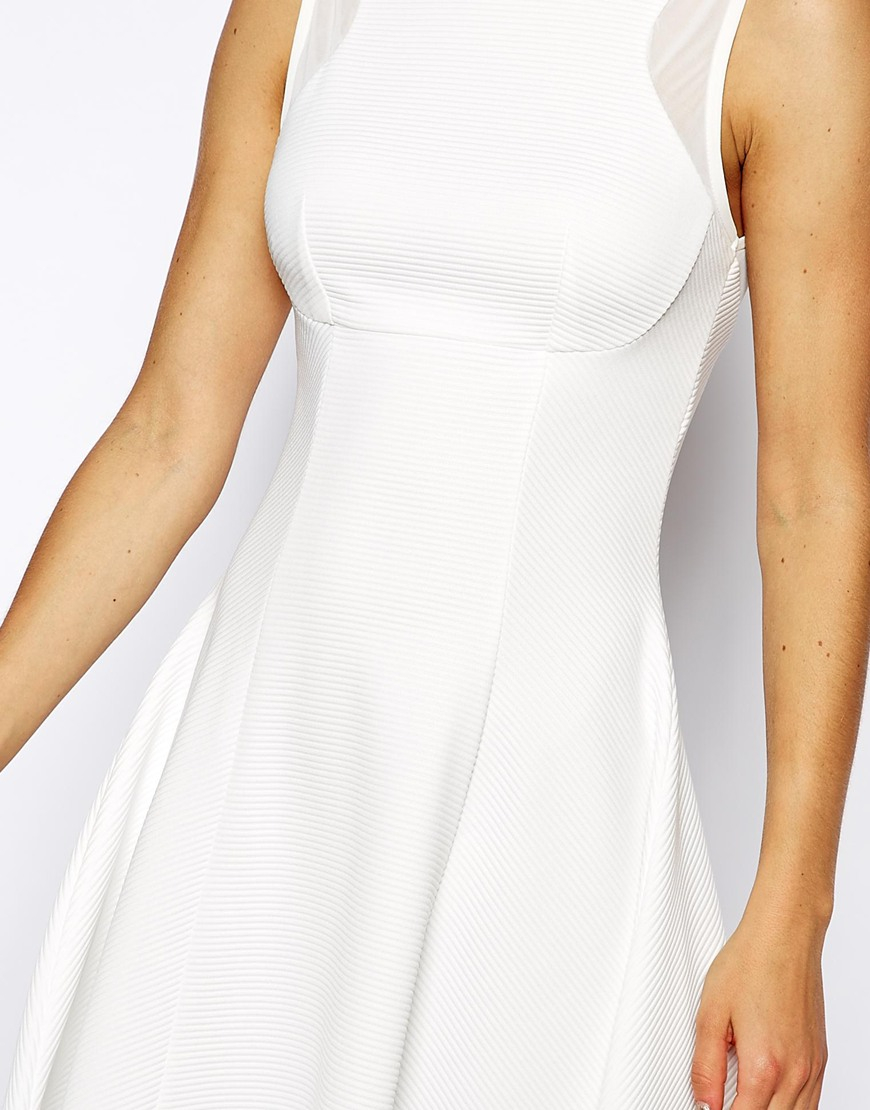 Asos mesh insert ribbed fit and flare dress in white lyst