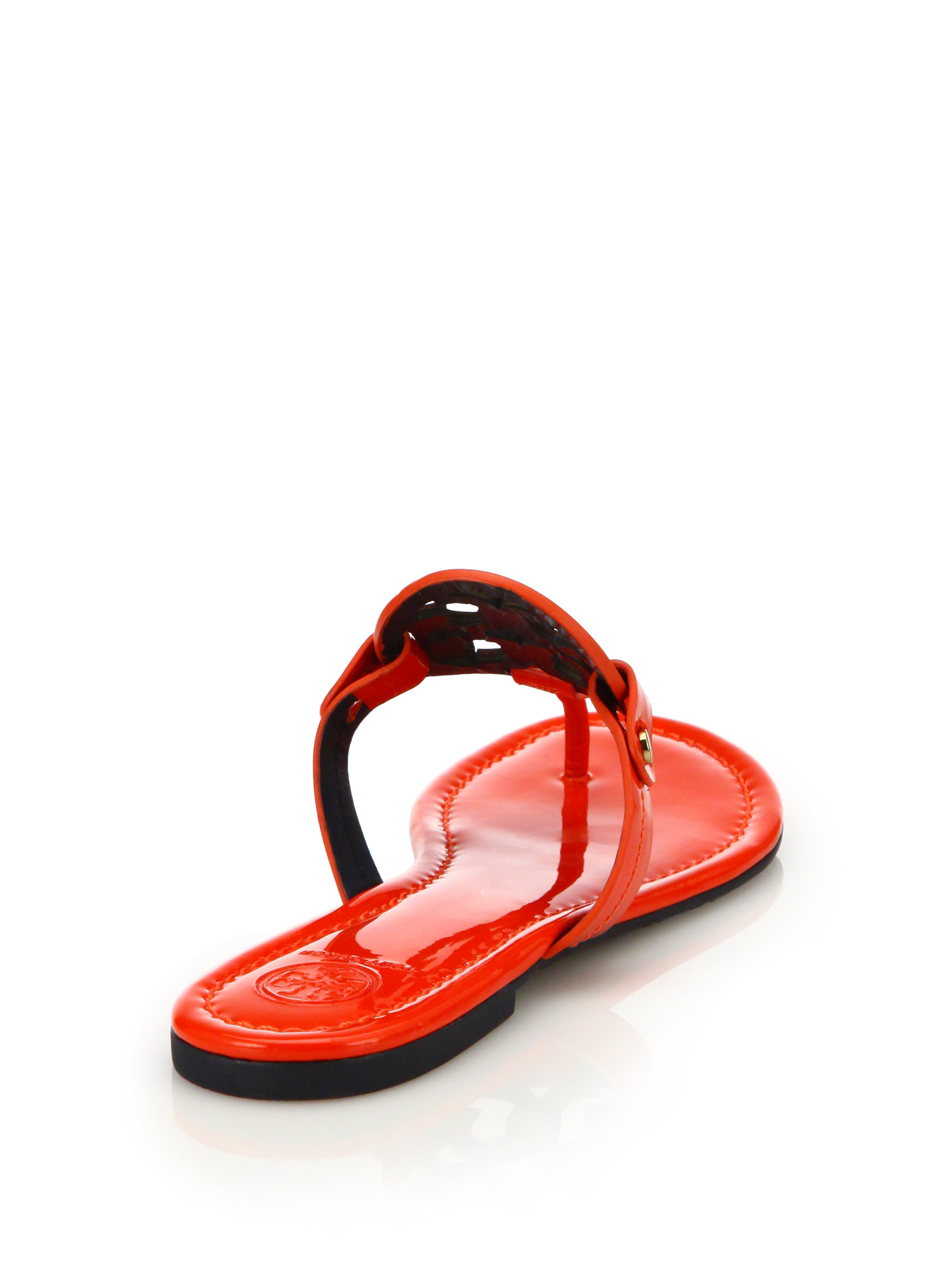 5dca2f4d763f Lyst - Tory Burch Miller Patent Leather Logo Thong Sandals in Orange