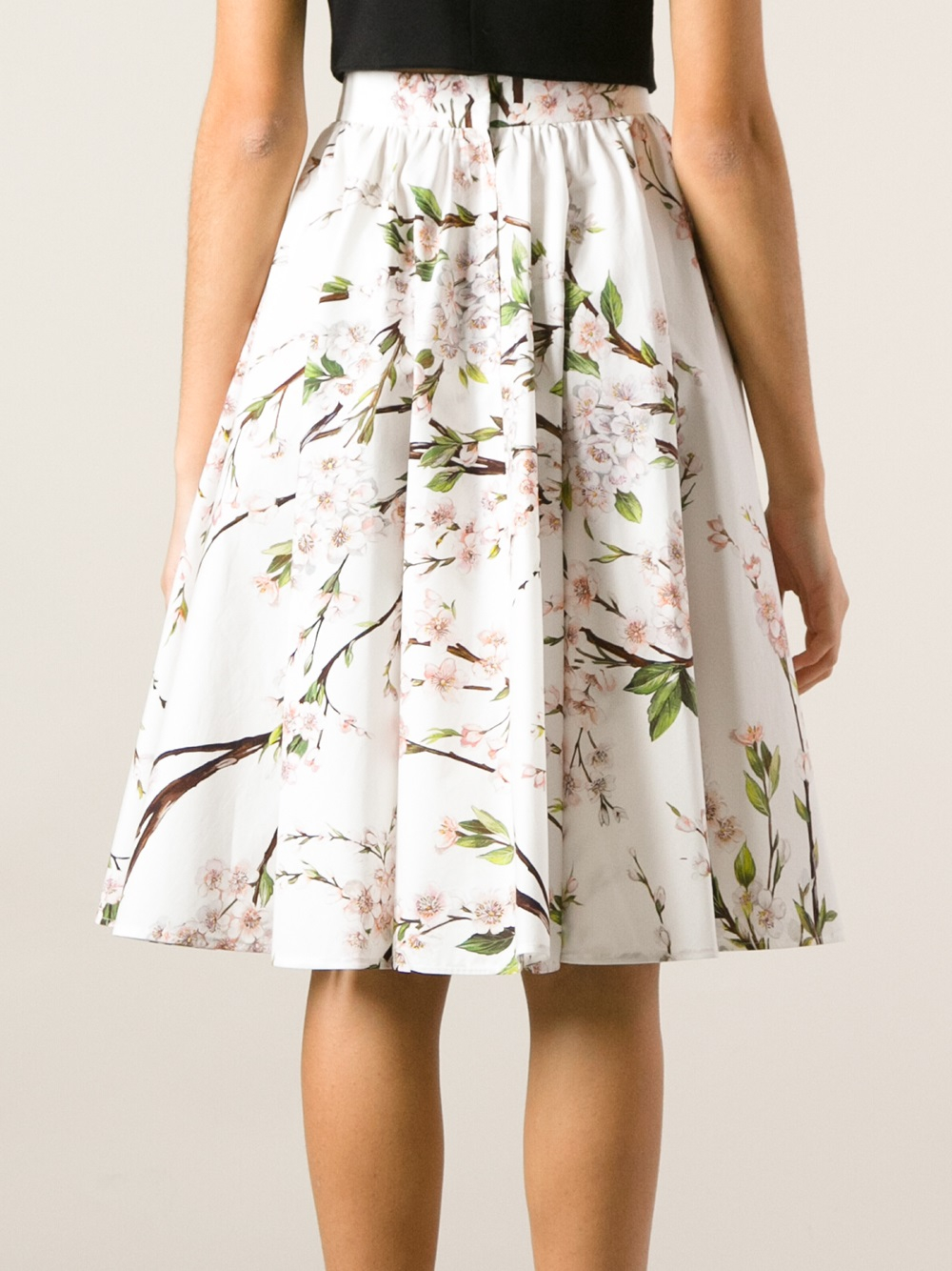 Dolce & gabbana Floral Printed Aline Skirt in White | Lyst